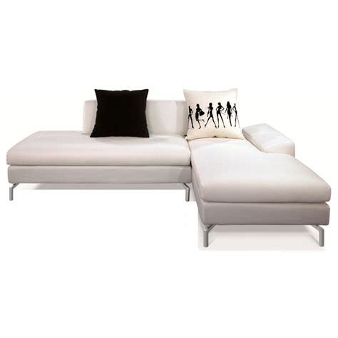 White Fabric Sectional Sofa With Chaise Bosnia Sectional Sofa White Fabric Right Facing