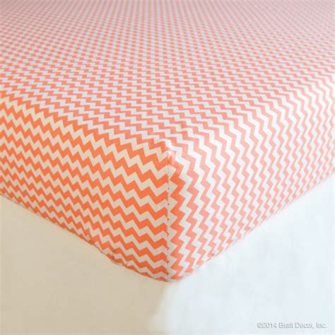 coral chevron cotton crib sheet