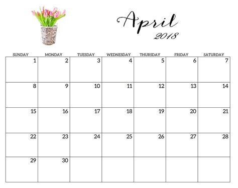 printable calendar template 2018 april 2018 monthly calendar printable templates
