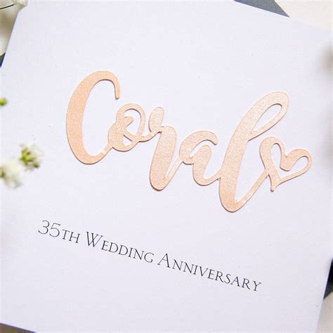 35th Wedding Anniversary by Coral 35th Wedding Anniversary Card By The Hummingbird