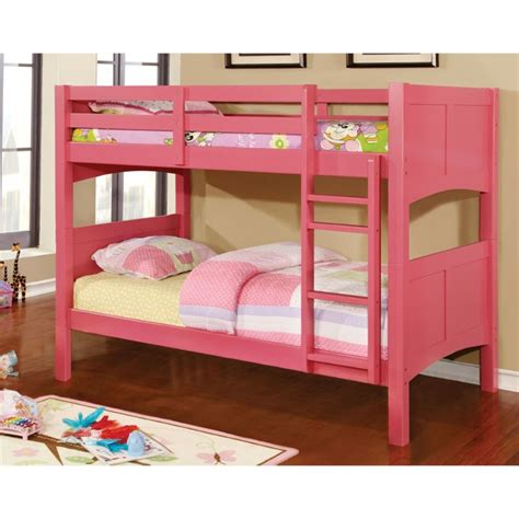 pink bunk bed furniture of america schwing twin over twin bunk bed in
