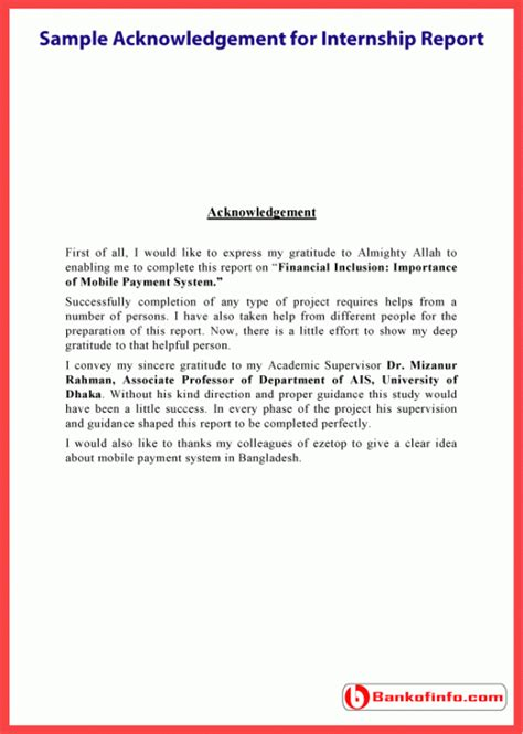 Acknowledgement Format For Mba Project Report by Sle Acknowledgement For Internship Report Letter