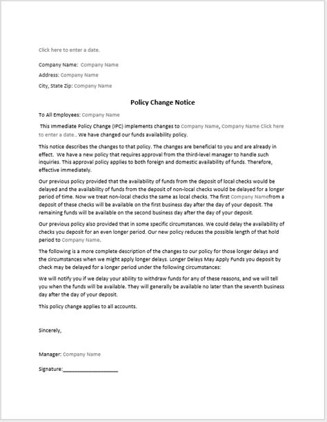 Change Policy Template by Policy Change Notice Sle Word Templates