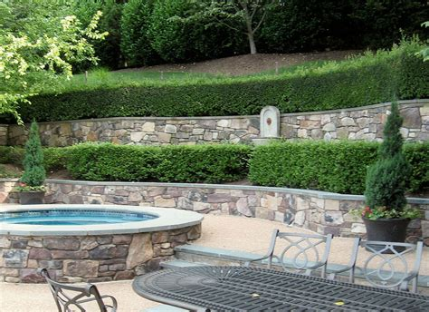 backyard terrace flagstone patio retaining wall designs masonry
