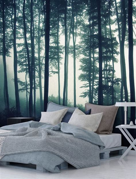 fototapete wald grau schlafzimmer olegoff