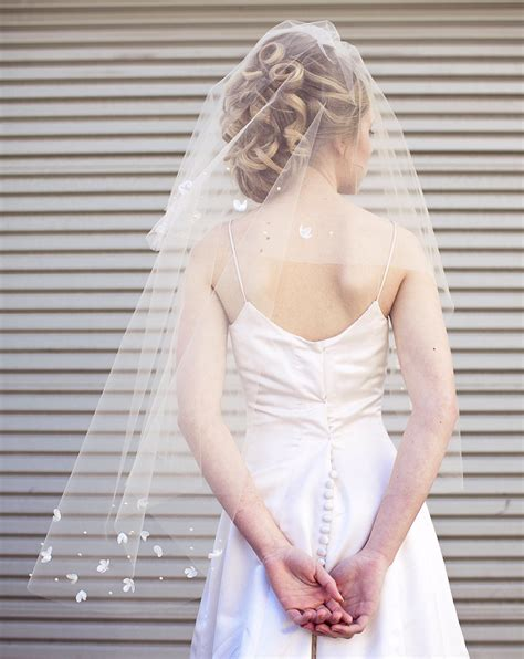 modern wedding hair with veil wedding veil with scattered vintage flowers a modern