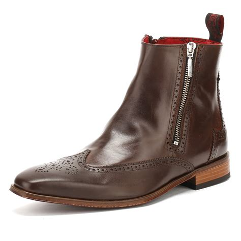 mens zip up chelsea boots jeffery west mens brown chelsea boots zip up brogue
