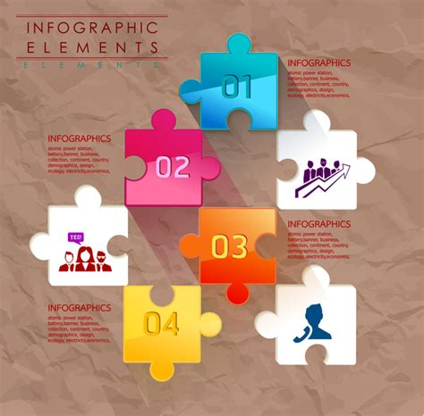 puzzle design elements vector infographic elements vector illustration with colorful