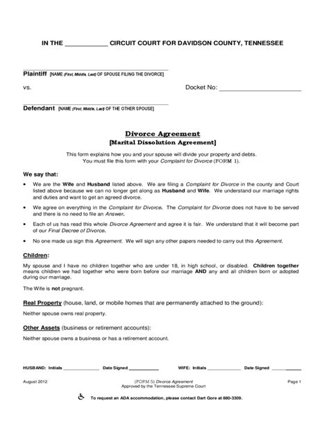 Marital Dissolution Agreement Tennessee Free Download Marriage Dissolution Agreement Template