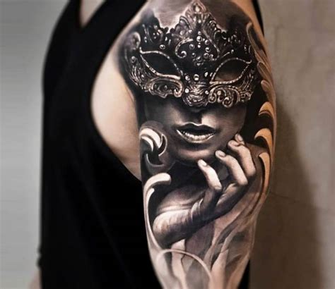 tattoo girl with mask girl with mask tattoo by arlo tattoos post 19868