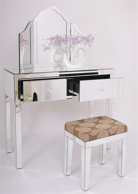 mirrored bedroom vanity table glass vanity table decofurnish