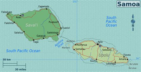 where is samoa on the map file samoa regions map png wikimedia commons