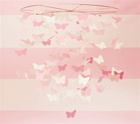 bedroom mobiles pink paper butterfly ceiling mobile pottery barn kids