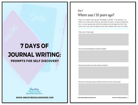 365 days of a journal of self discovery books 7 days of journal writing prompts for self discovery