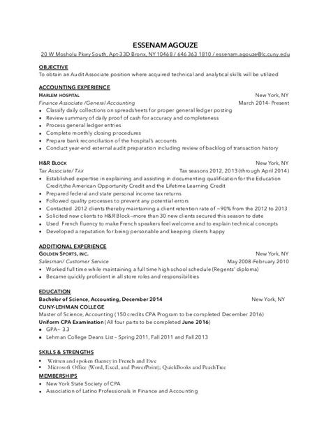 Associate Auditor Sle Resume by Audit Associate Resume Resume Ideas