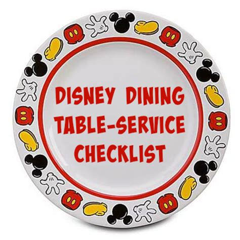 Disney Dining Table Service Checklist Disney Dining Table Service