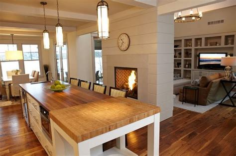 Living Room With Fireplace And Kitchen 20 Gorgeous Two Sided Fireplaces For Your Spacious Homes