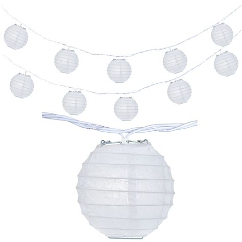 10 Socket White Round Paper Lantern Party String Lights 4 White Paper Lantern String Lights