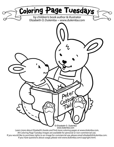 dulemba coloring page tuesday reading bunnies