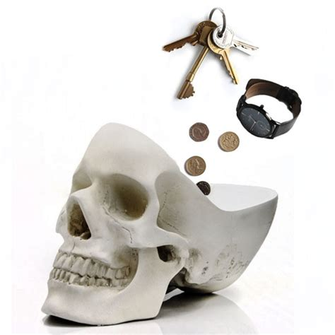 Skull Desk Accessories Thimble Tidy Silver Novelty Desk Tidy And Wolf