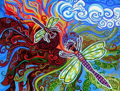 two dragonflies painting by genevieve esson