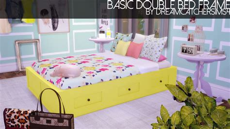 the sims 4 bed cc dreamcatchersims basic double bed frame in 20 colors by