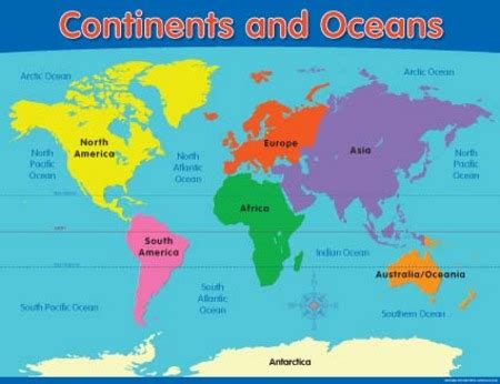 World Map Continents And Oceans Map Of Continents And Oceans - World map oceans continents