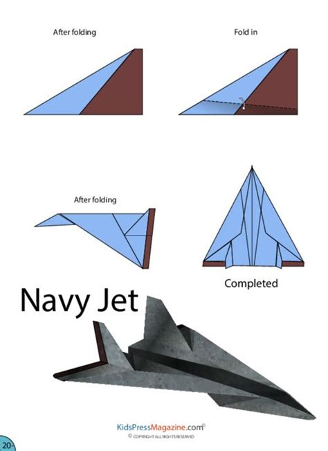 How To Make A Cool Paper Airplane Step By Step - paper airplane navy jet jets activities
