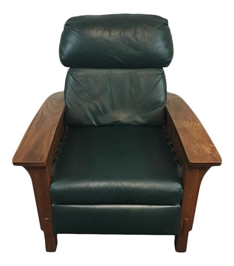 mission style recliner leather mission style black leather upholstered wood recliner