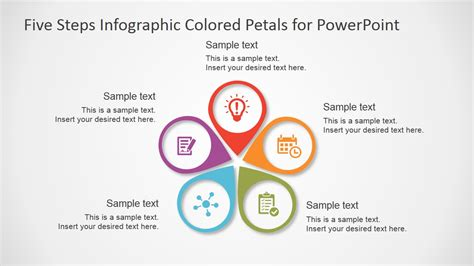 Five Steps Infographic Colored Petals Free Powerpoint Diagram Slidemodel Powerpoint Infographic Templates