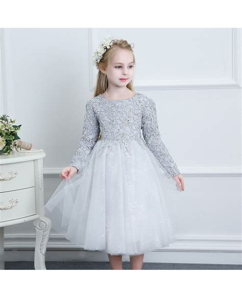 beaded flower dresses beaded grey lace couture flower dress weddings