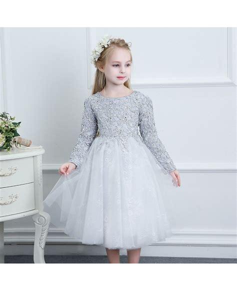 beaded flower dress beaded grey lace couture flower dress weddings