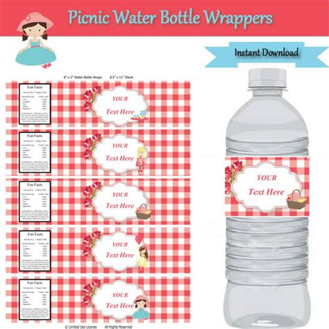 Picnic Party Water Bottle Label Wrappers Instant Download Editable Template Type Your Own Text Water Bottle Wrapper Template