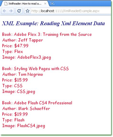 xml tutorial asp net c how to read and process xml file element data in asp net