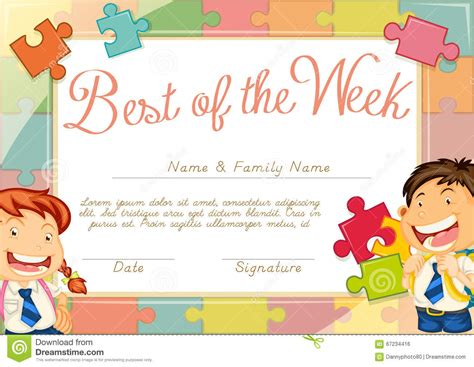 child certificate template certificate template with children background stock