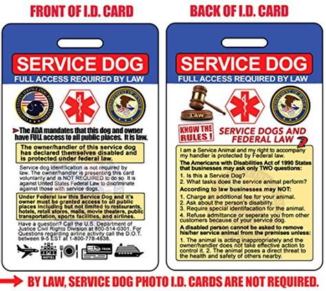 printable service dog id cards service dog id card 2 pack badge 2 certificates with