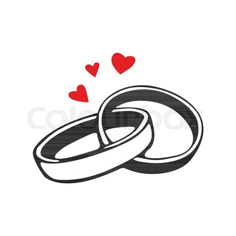 vector black wedding rings icon on white background stock vector colourbox