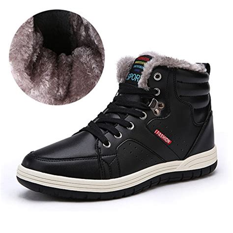 Lace Up Snow Shoes mens leather snow boots lace up ankle sneakers