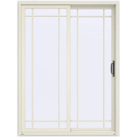 Vinyl Interior Doors Jeld Wen 60 In X 80 In V 4500 Contemporary Vanilla Painted Vinyl Right 9 Lite Sliding