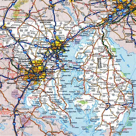printable road map of delaware map of delaware and maryland