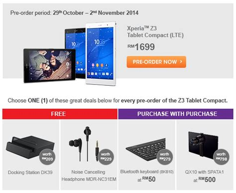 Sony Xperia Z3 Tablet Compact Malaysia by Sony Xperia Z3 Tablet Compact Membawakan Tanda Harga