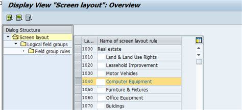 screen layout meaning asset accounting how are the asset master record fields
