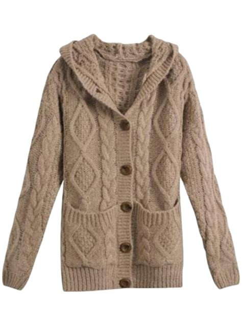 hooded cable knit cardigan casual single breasted cable knit hooded cardigan oasap