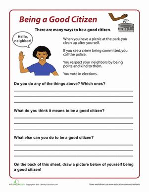 Citizenship Worksheets by How To Be A Citizen Worksheet Education