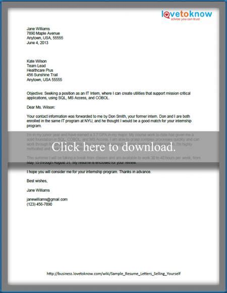 sles of resume cover letters that show how to sell