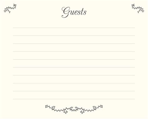 guest book cards template wedding guest book pages printable file guests template