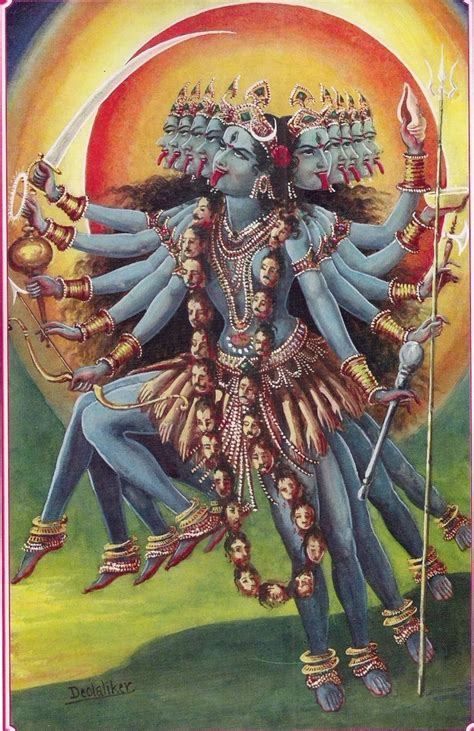 Kali On A Rage kali with many arms modern syncretism with tongue