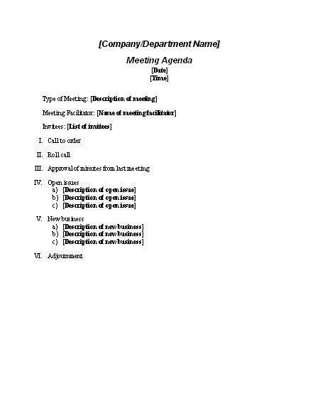 meeting agenda tips templates basic agenda template
