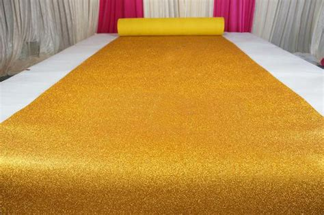 Wedding Aisle Material by Yellow Gold Glitter Leather Fabric For Wedding Aisle