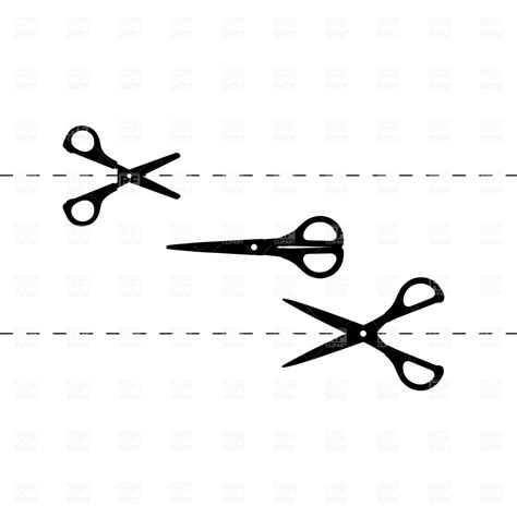and scissors cutting scissors and section line 1257 silhouettes outlines royalty free